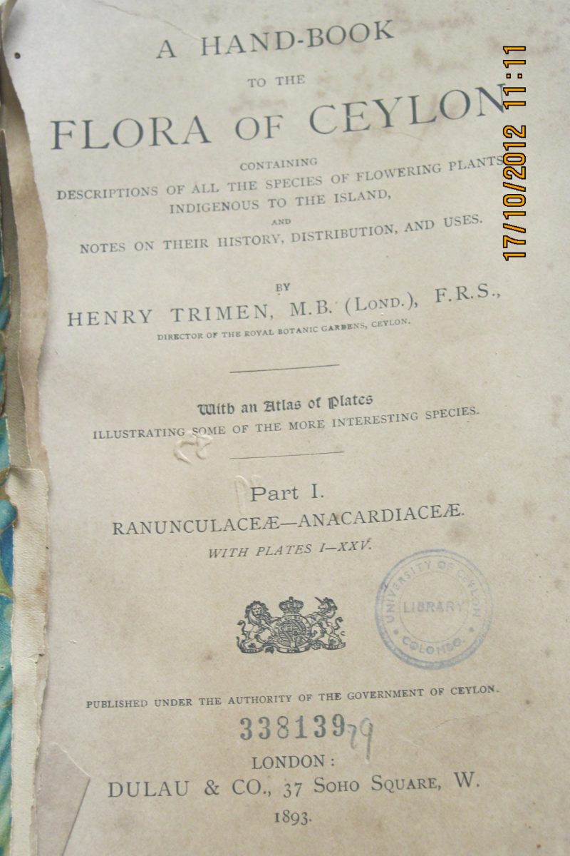 A hand-book to the Flora of Ceylon ( Part 1) – Henry Trimen