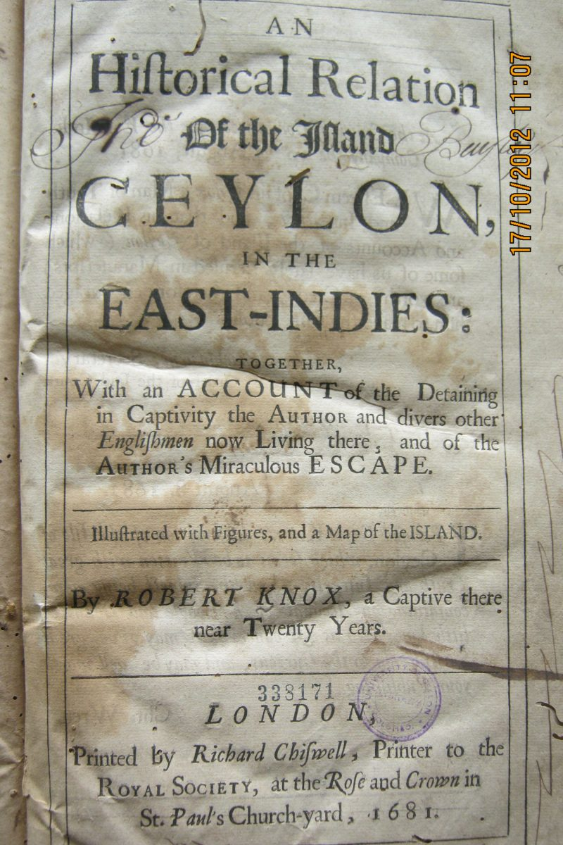 An Historical Relation of the Island Ceylon in the East-Indies – Robert Knox