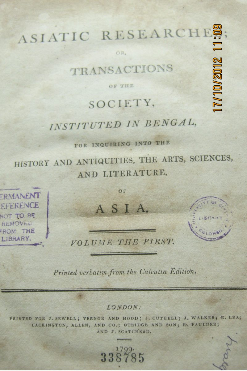 Asiatic Researches or Transactions of the Society Instituted in Bengal ( History & Antiquities The Arts