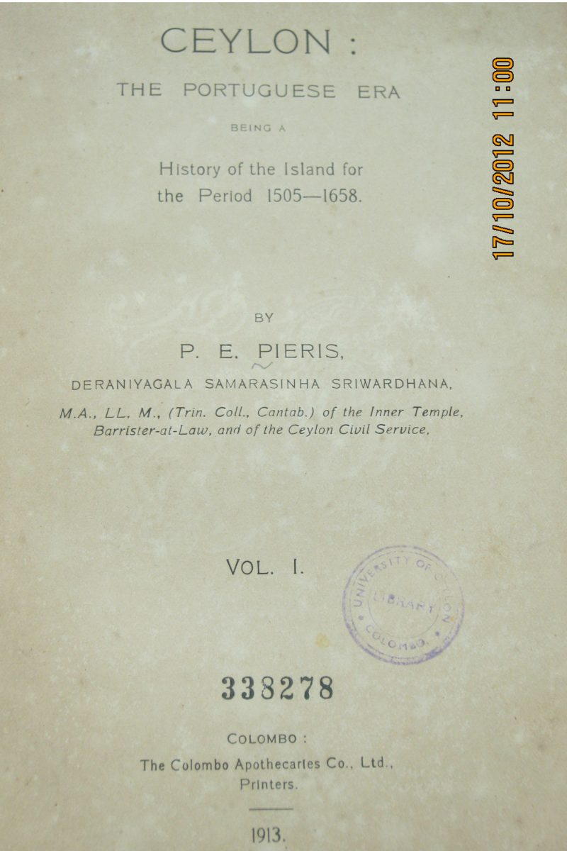 Ceylon - The Portuguese Era ( Vol 1) – P