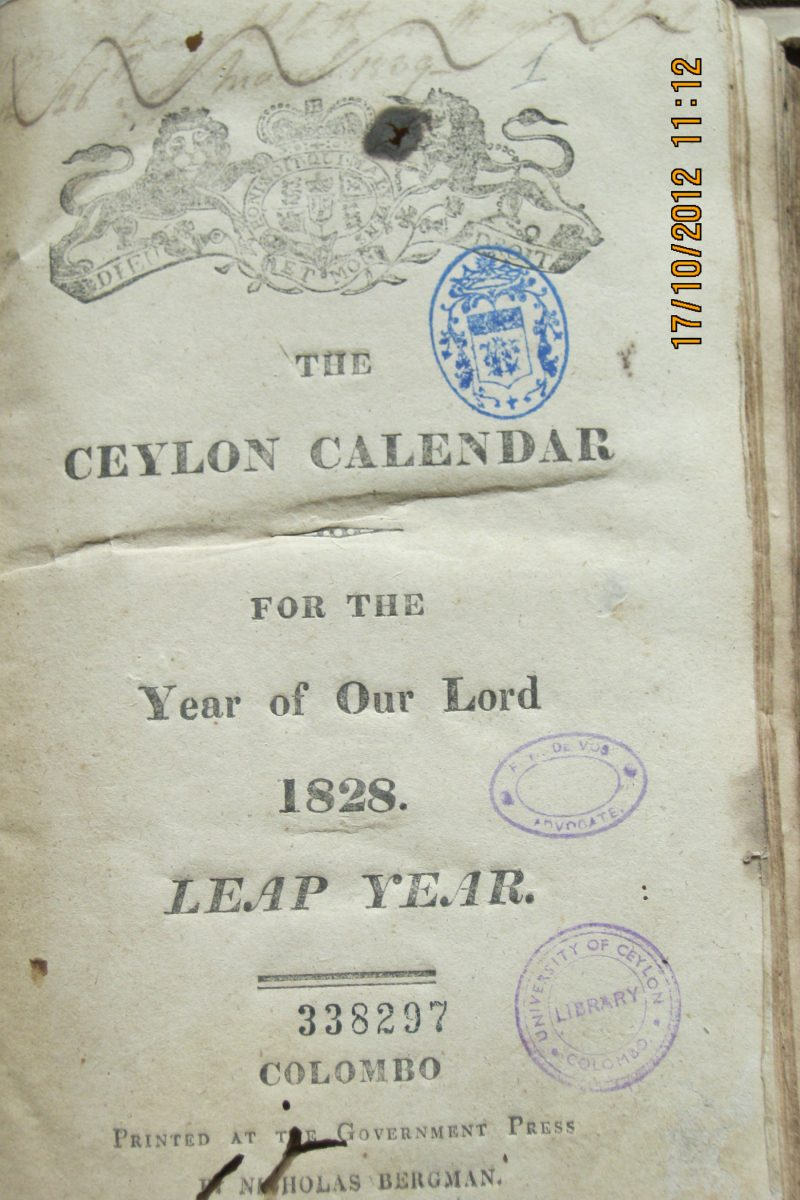 The Ceylon Calendar for the year of our Lord 1828