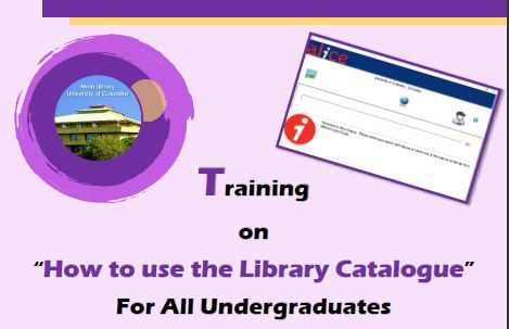 "Training on ""How to use the Library Catalogue"" For All Undergraduates"