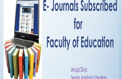 E-Journals Faculty of Education