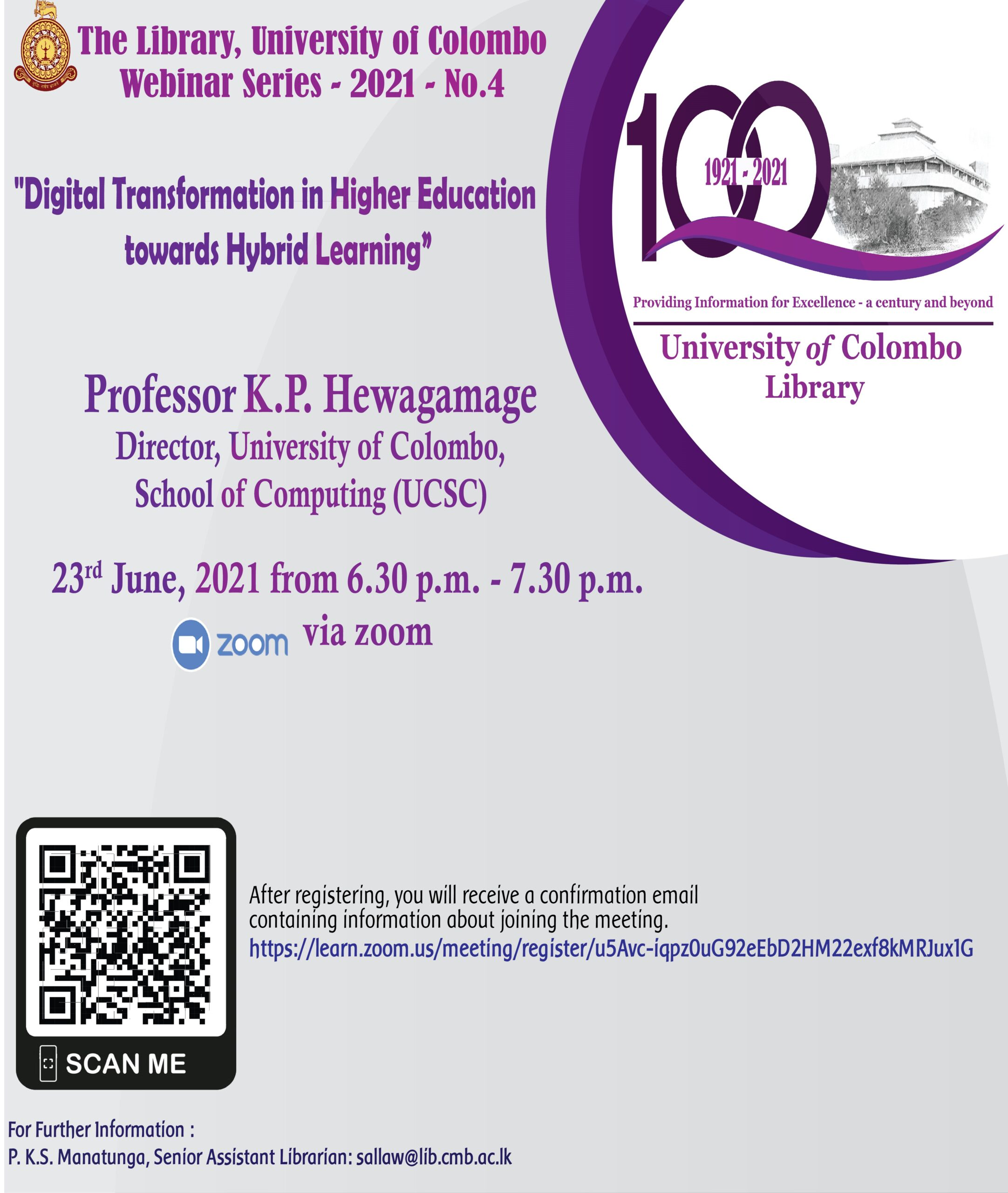 Main Library, University of Colombo Webinar Series – 2021 – No.4