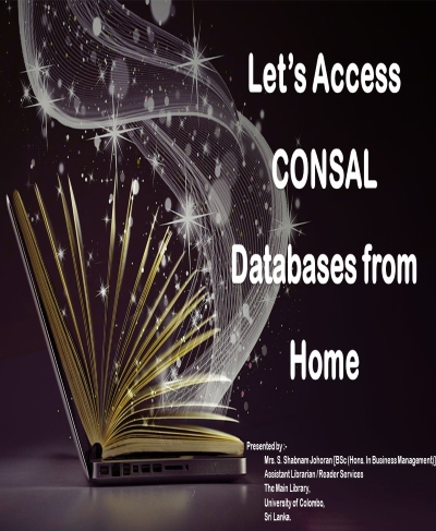Webinar – CONSAL Databases From Home